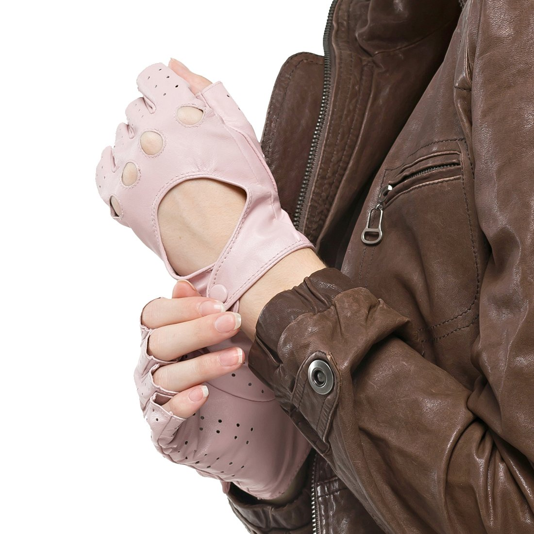 Nappaglo Women's Classic Half Finger Leather Driving Gloves Fingerless Lambskin Fitness Outdoor Unlined Gloves DBE216