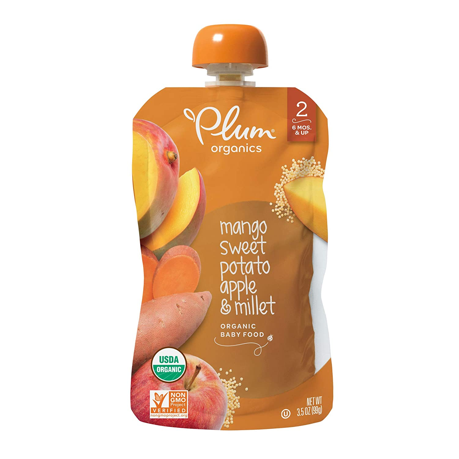 Plum Organics Stage 2, Organic Baby Food, Mango, Sweet Potato, Apple and Millet, 3.5 ounce pouches (Pack of 12)