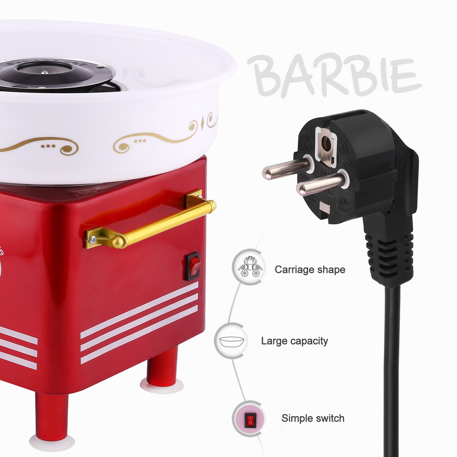 Vintage Sugar, SugarFree, or Hard Candy Machine Cotton Candy Floss Maker Birthday Party Supplies (Red) by Ferty (Image #6)