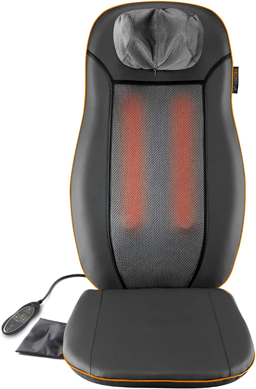 Medisana MCN Cojín de asiento de masaje con 3 zonas de masaje, función de calor, función de luz roja, masaje de cuello ajustable en altura, adecuado para cualquier silla