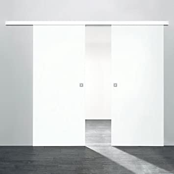 Schiebetür holz weiß  2 flügelige Holz-Schiebetür Raumteiler 1760x2035mm Holz Weiß ...