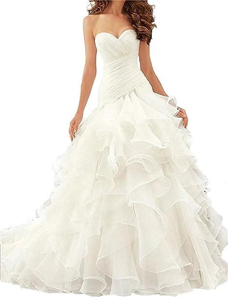 XUYUDITA Vestidos de novia de la sirena de las mujeres Sweetheart volantes vestidos de boda Puffy: Amazon.es: Ropa y accesorios