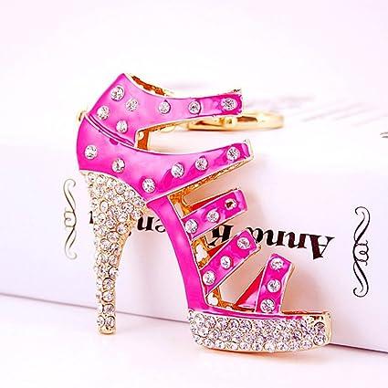 5b7ad3b0c Jzcky Shzrp Fashion Lady s High-Heeled Sandals Crystal Rhinestone Keychain  Key Chain Sparkling Key Ring