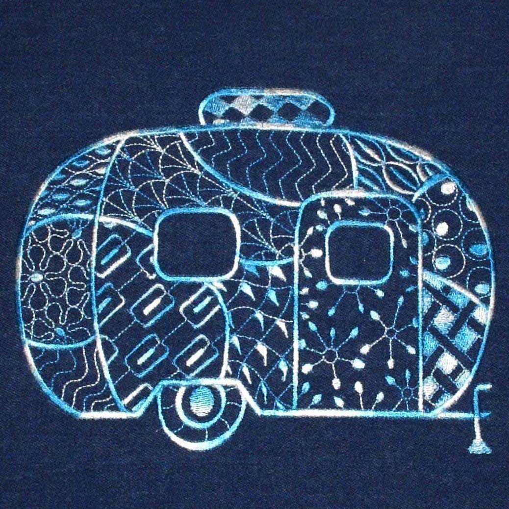 Vintage Camper Pillow Cover Blue Embroidered Denim RV Camping Decor Fits 16 x 16 Inch Pillow