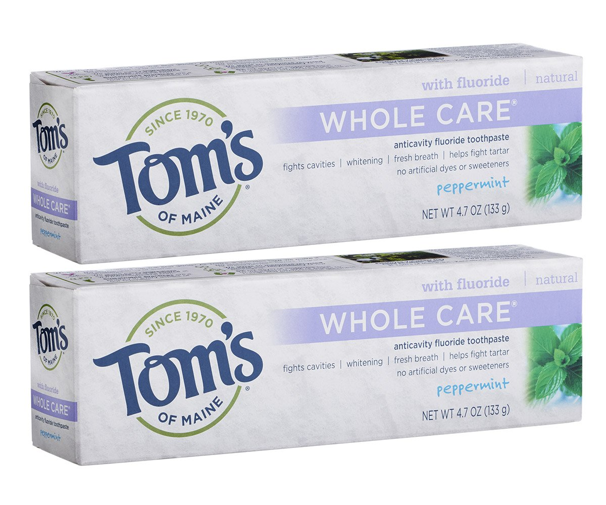 Tom's of Maine Whole Care with Fluoride Natural Toothpaste, Peppermint 4.7 oz (Pack of 2)