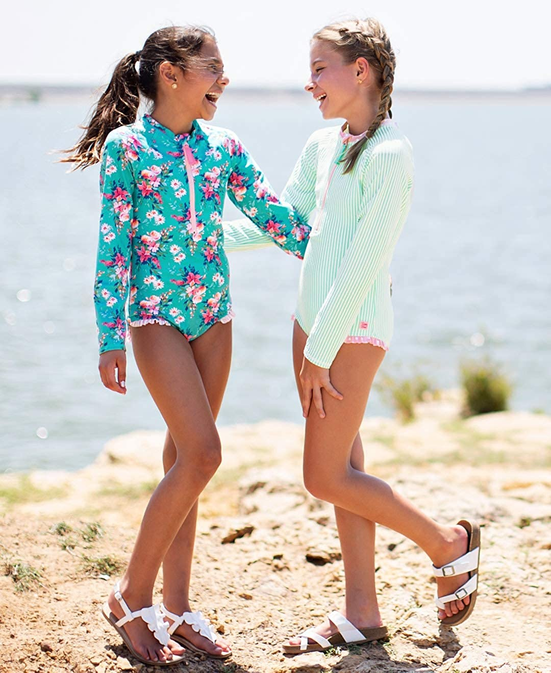 Sun Protection RGSYYXX-1PZP-SC-TDLR RuffleButts Little Girls Long Sleeve Zipper Rash Guard One Piece w//UPF 50