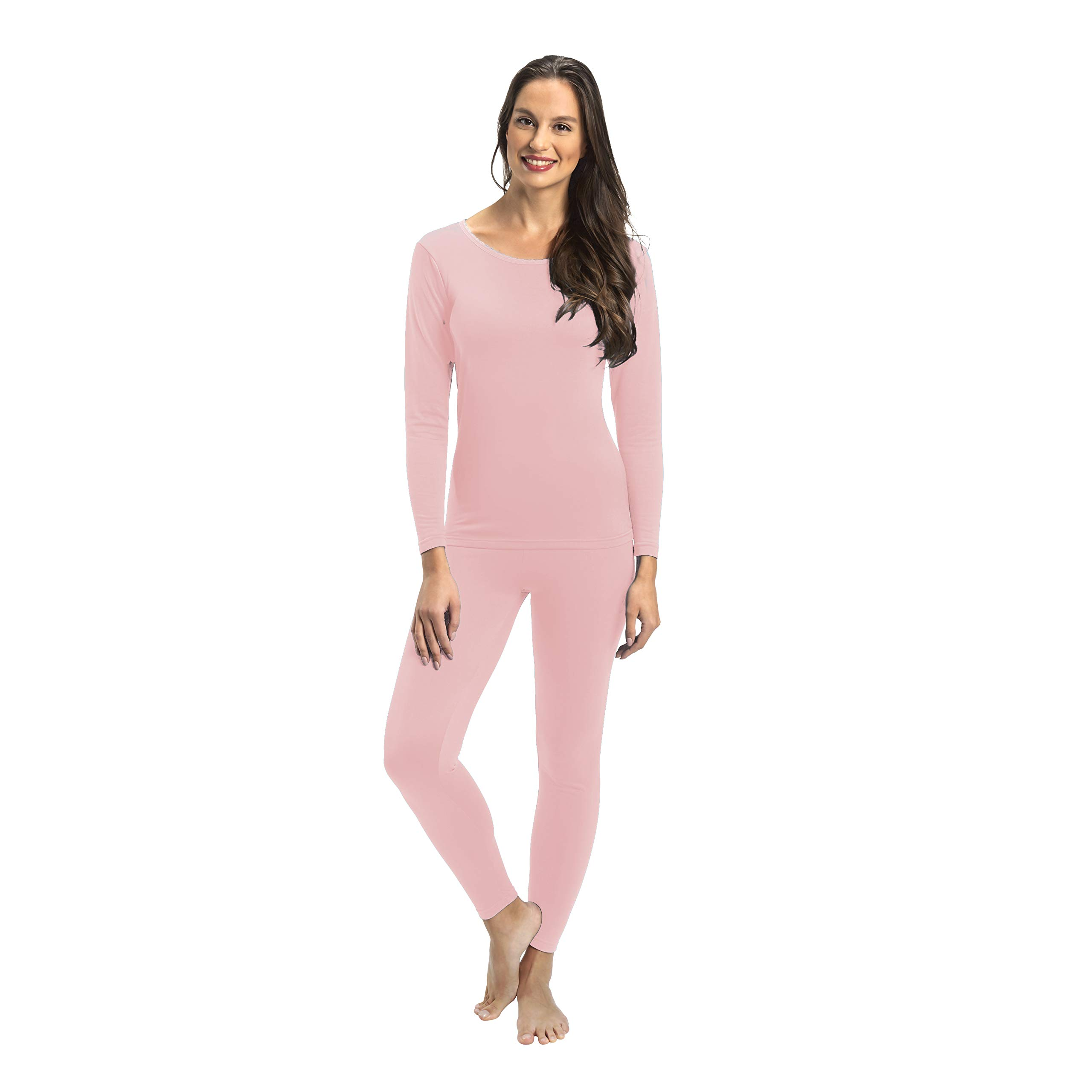 Rocky Womens Thermal 2 Pc Long John Underwear Set Top and Bottom Smooth Knit (Small, Pink) by Rocky