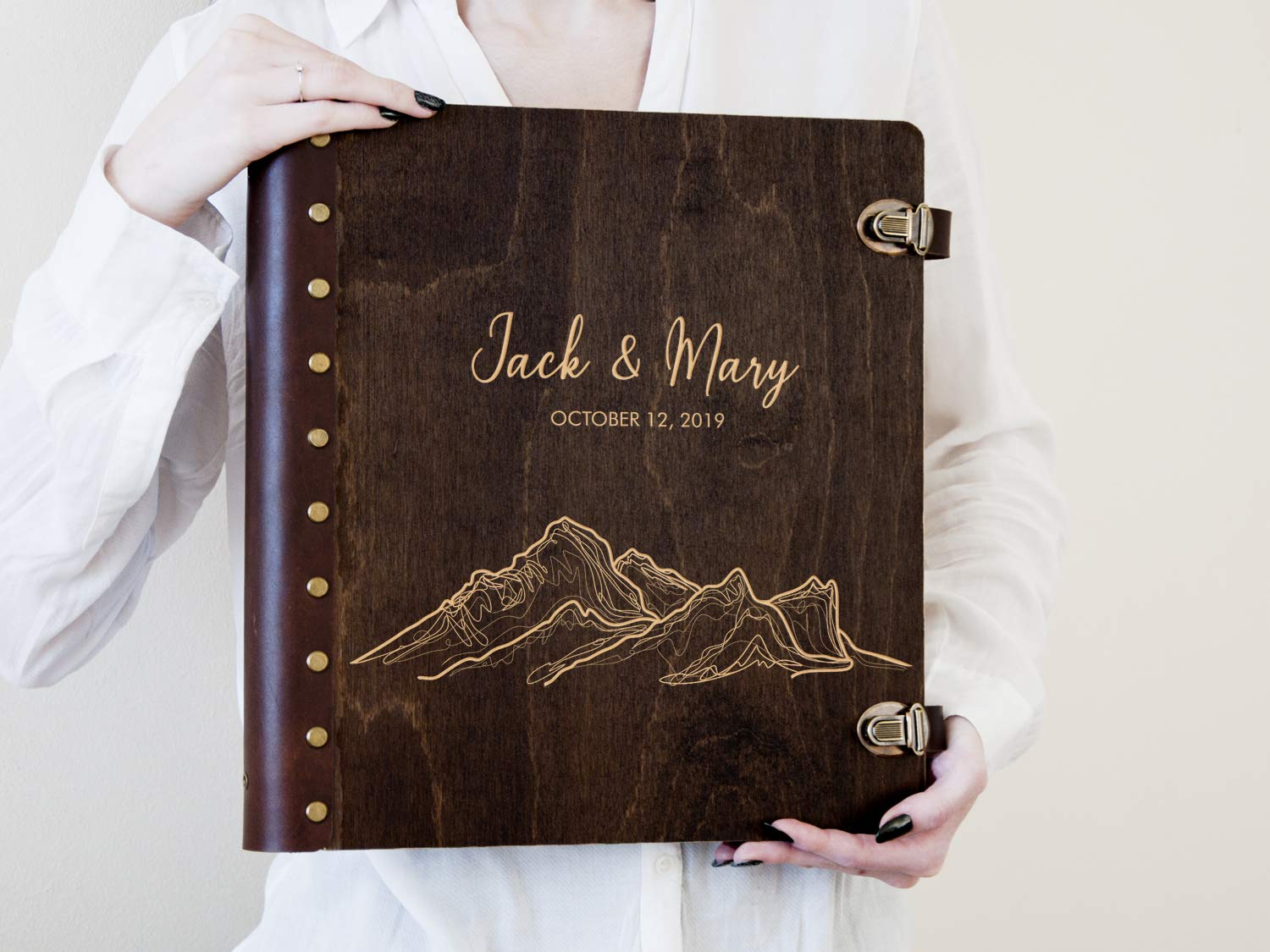 Travel Photo Album Personalized Wedding Photo Book with Self-Adhesive Sheets Mountain Lover Gift Wedding Gift for Couple Wooden Engraved Scrapbook Album Wedding Photo Album
