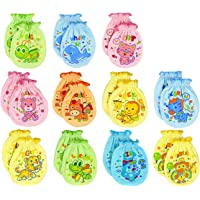 Liwely 6 Pairs Unisex-Baby No Scratch Mix Colours Assorted Mittens, 100% Cotton, Assorted animals