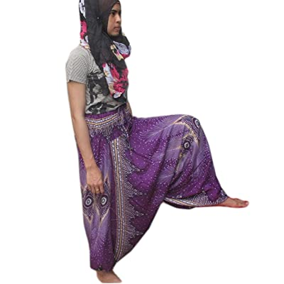 """HITHOT"" ""BEAUTIFUL FLOWER HILL TRIBE STYLE GENIUNE RAYON"" Genuine Cotton Rayol Cotton Hippy Hippie Boho Genie Ali Baba Aladdin Harem Pants Trousers (CAN BE JUMP UP AS SMOCK)"