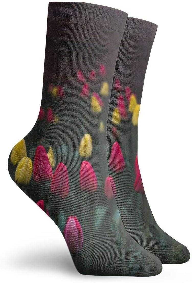 WEEDKEYCAT Tulips Bud Field Adult Short Socks Cotton Fun Socks for Mens Womens Yoga Hiking Cycling Running Soccer Sports