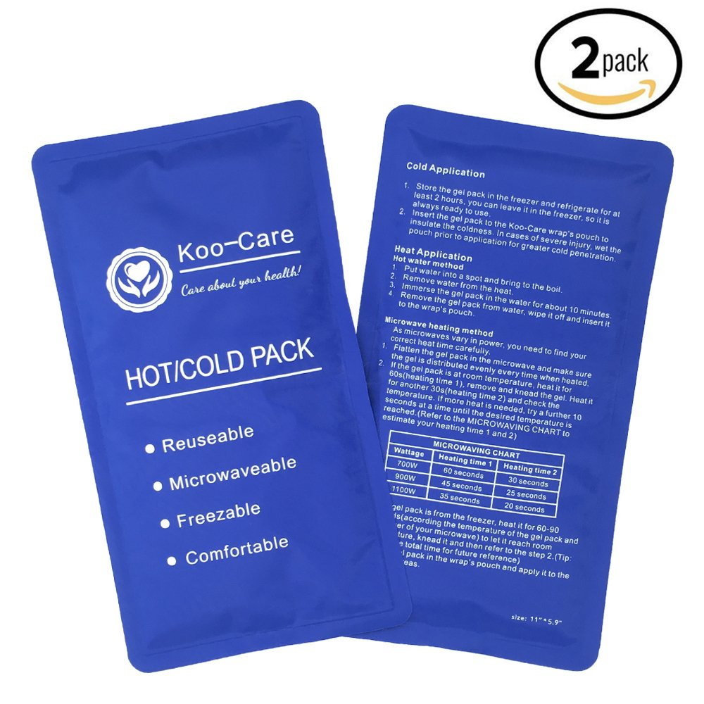 Koo-Care Flexible Gel Ice Pack for Hot Cold Therapy - Set of 2 - Great for Migraine Relief, Sprains, Muscle Pain, Bruises, Injuries (Medium, 11'' × 5.9'')