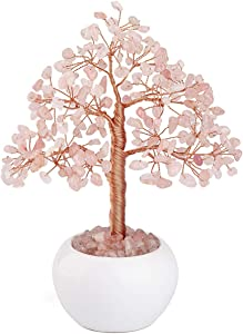 Top Plaza Rose Quartz Reiki Healing Crystals Money Tree Gemstone Stone Tree Feng Shui Good Luck Wealth Figurine Decor for Home Office Living Room Decoration 7.5 Inches