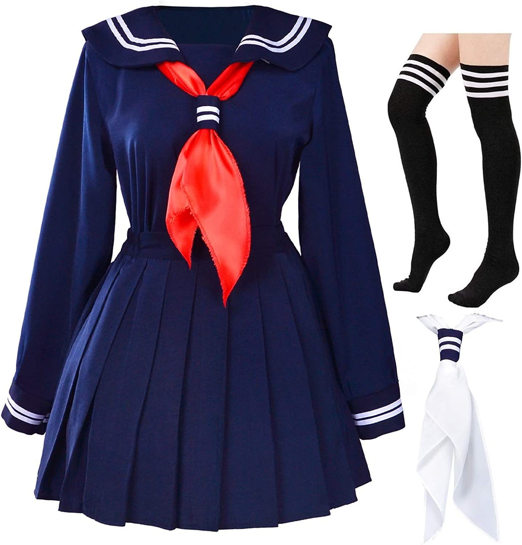 Classic Japanese School Girls Sailor Dress Shirts Uniform Anime Cosplay Costumes with Socks Set