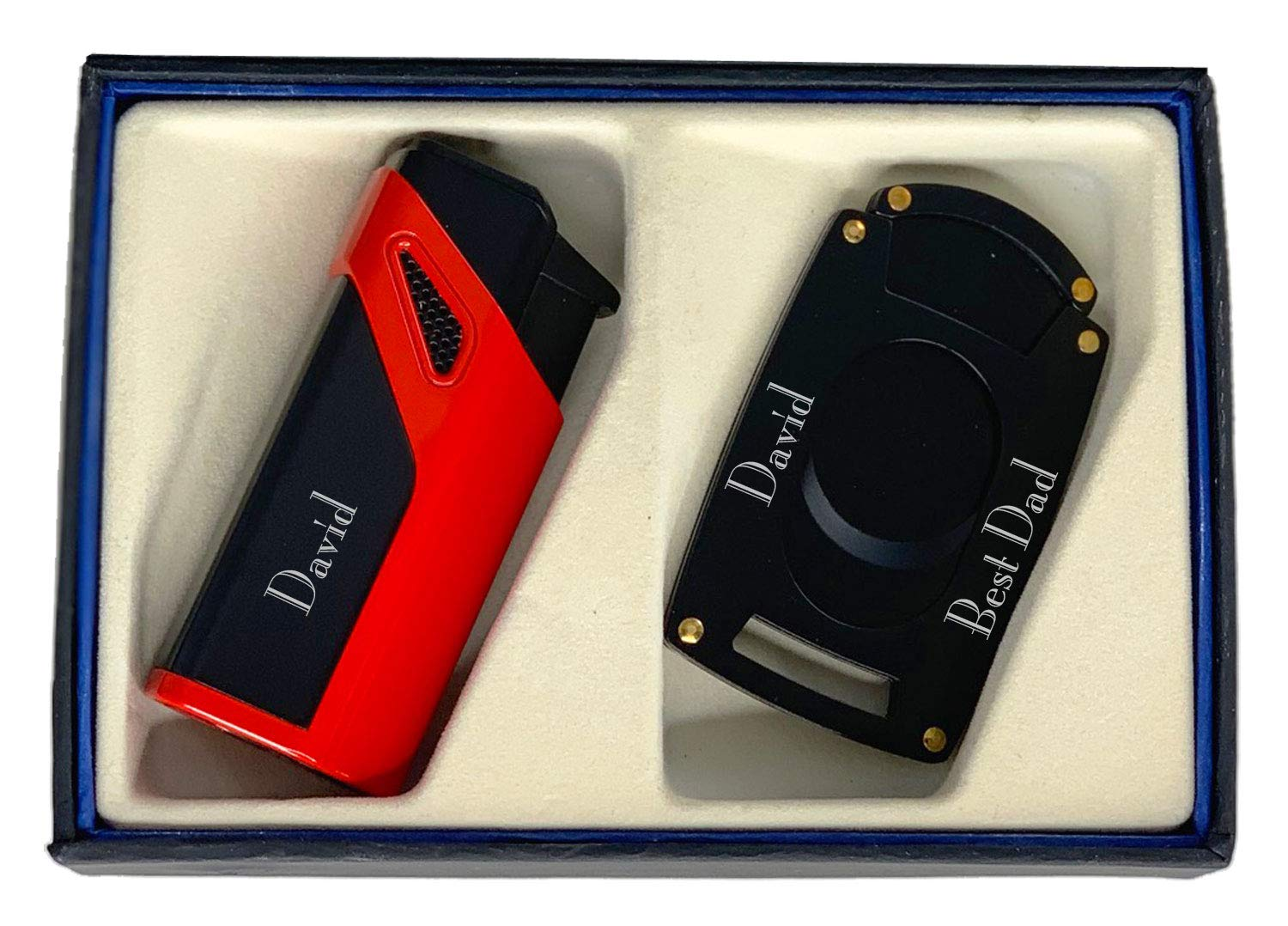 Personalized Visol Alpha Cigar Lighter and Cutter Gift Set - Red with Free Laser Engraving