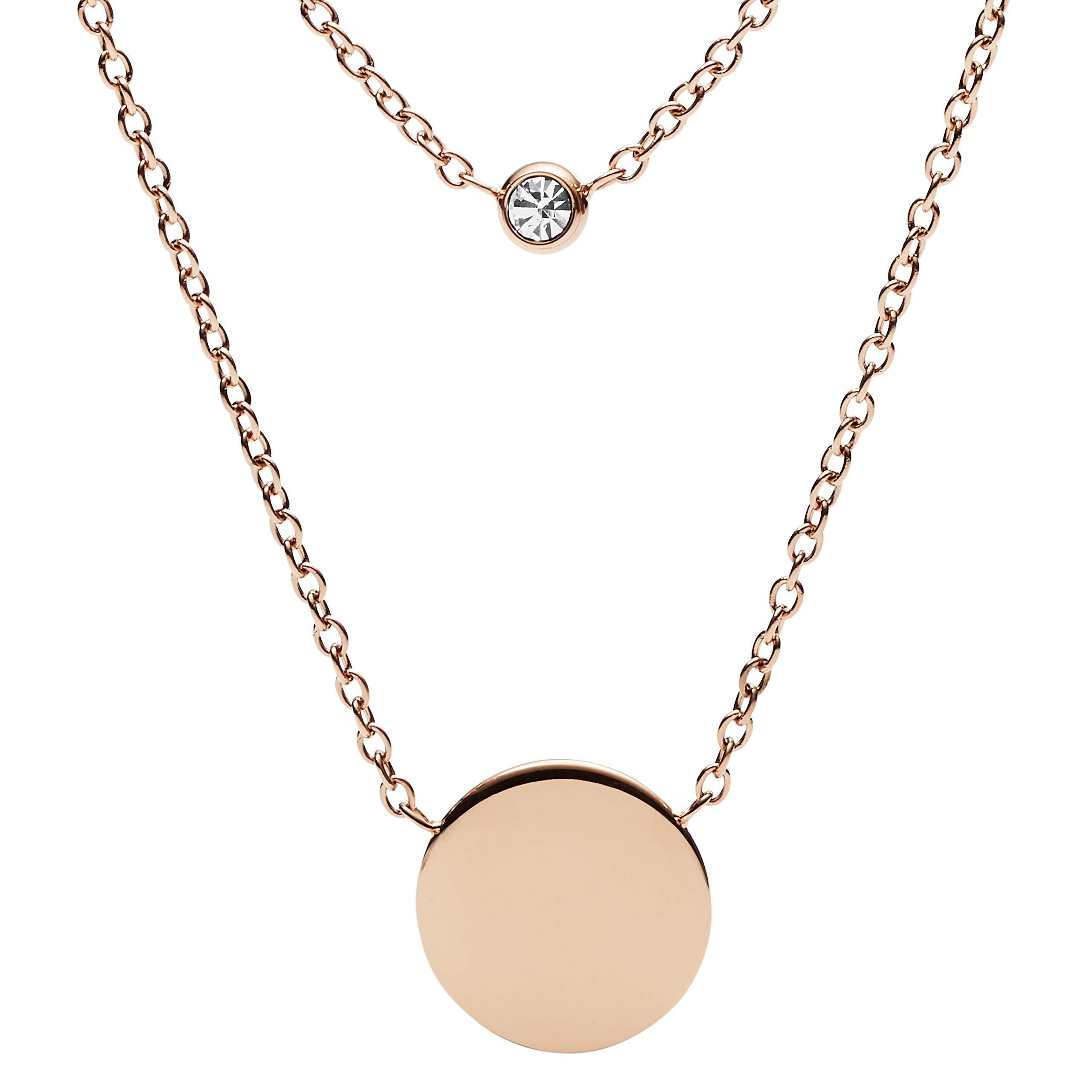 ویکالا · خرید  اصل اورجینال · خرید از آمازون · Fossil Women's Double Glitz Rose Gold-Tone Steel Necklace, One Size wekala · ویکالا