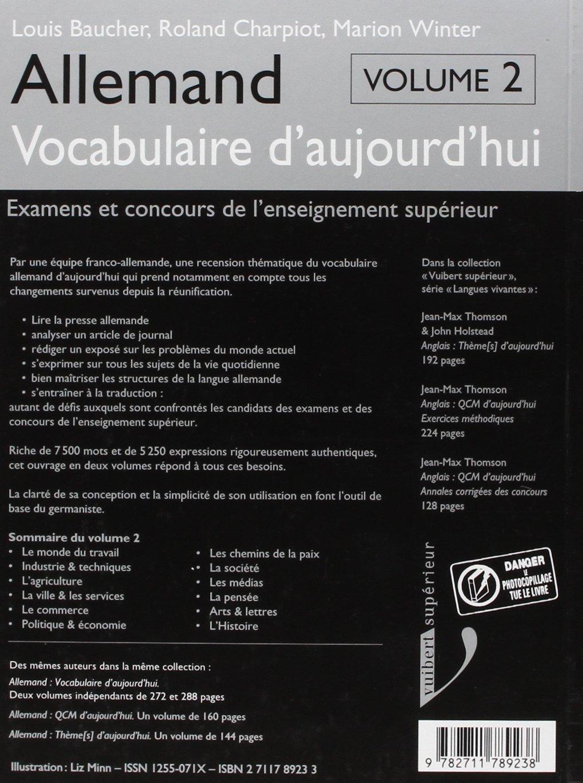 Allemand: Vocabulaire daujourdhui : examens et concours de lenseignement supérieur: Baucher: 9782711789238: Amazon.com: Books