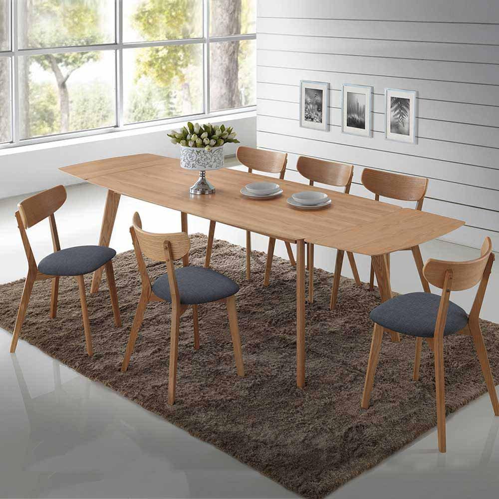 Pharao24 Essgruppe aus Eiche Grau Webstoff Tisch ausziehbar Breite 190 cm Ohne Verlängerbar um je