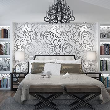 aruhe® contemporanea 3d wallpaper vittoriano damascato in rilievo ... - Carta Da Parati Stile Contemporaneo