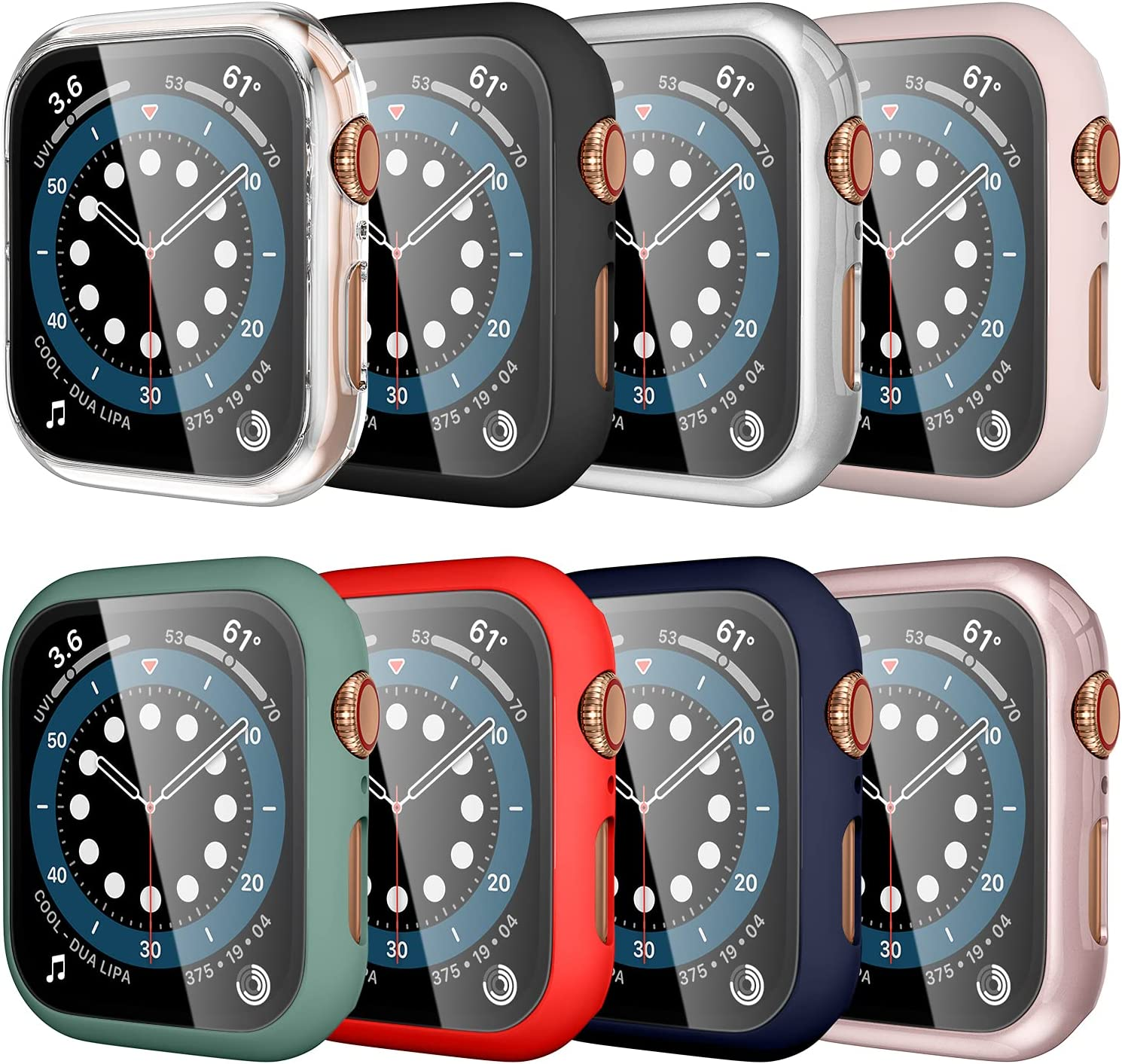 [8 Pack] SNBLK Compatible for Apple Watch Case 44mm Series 6 5 4 SE with Built-in Tempered Glass Screen Protector, Touch Sensitive Full Protective Hard PC Bumper Cover, 44mm