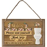"Cualfec Please Seat Yourself Toilet Rules Funny Bathroom Sign Decor Double-Sided 11"" x 7"" Bathroom Hanging Decoration…"
