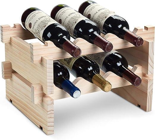 8 Bottles Holder Wine Rack Wood Home Kitchen Bar Decor Cabinet Shelves Storage