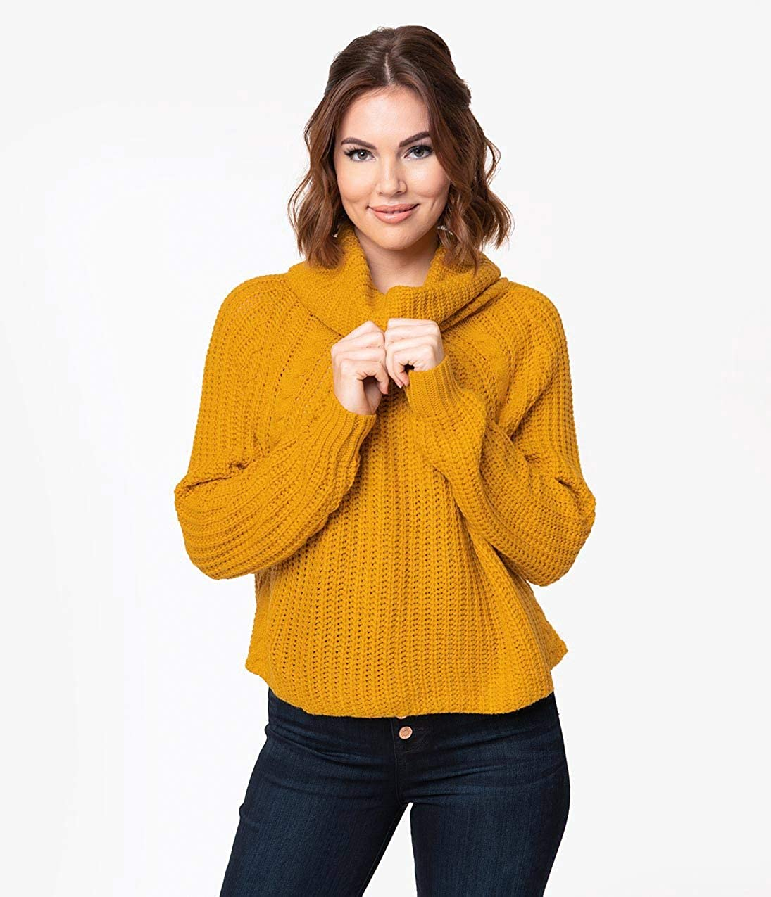 7d0b40e93 Unique Vintage Mustard Yellow Cable Knit Turtleneck Long Sleeve Crop Sweater  at Amazon Women s Clothing store