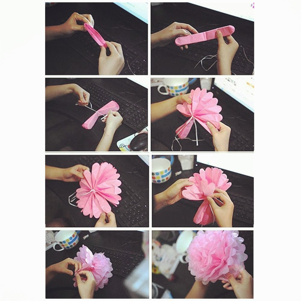 Hmxpls 10pcs Tissue Hanging Paper Pom-poms Flower Ball Wedding Party Outdoor Decoration Premium Tissue Paper Pom Pom Flowers Craft Kit Pink