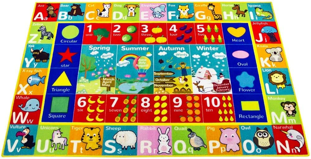 39in 59 Baby Play Mat for Crawling Educational Learning Playmat with ABC Numbers Animal Fruit Pattern Children Play Carpet Area RugTummy-Time Floor Tiles Mat Nylon No-slip Foldable /& Waterproof