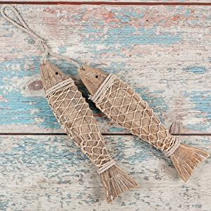 MDLUU Wooden Fish Wall Art, Large Wood Fish 12.5 Inches, Hand Carved Fish Hanging Decor, Decorative Fish Ornament for Mediterranean Nautical Theme, Coastal Theme, Lake House Decor