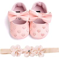 Babywearoutlet Newborn Baby Girl's Pre-Walker Shoes Heart Embroidery Bow Decor Baby Soft-Soled Anti-Slip Shoes With Hair Band (pink, 11cm(0-6month))