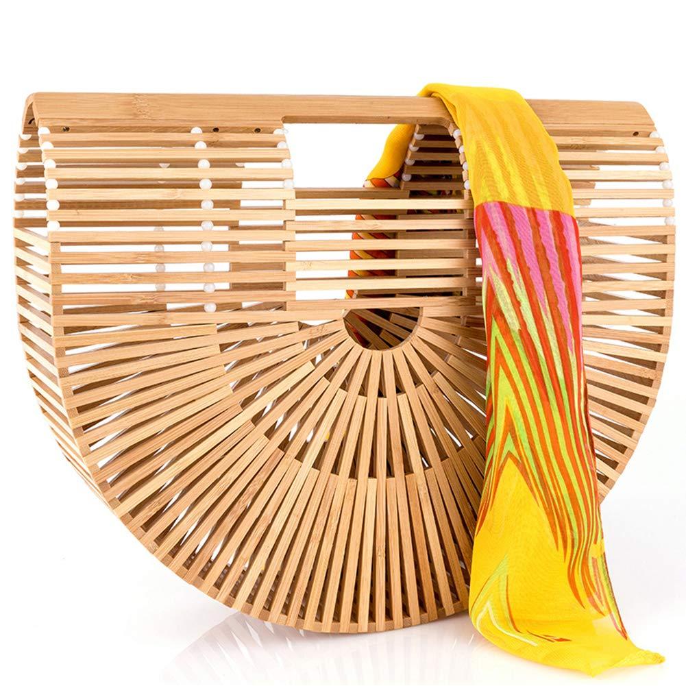 Bamboo Handbag Handmade Large Bamboo Tote Bag Bamboo Purse Straw Beach Bag Clutch For Women & Girls