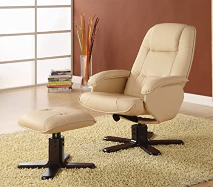 Amazon.com: Coaster Swivel Recliner Chair with Ottoman in Ivory ...