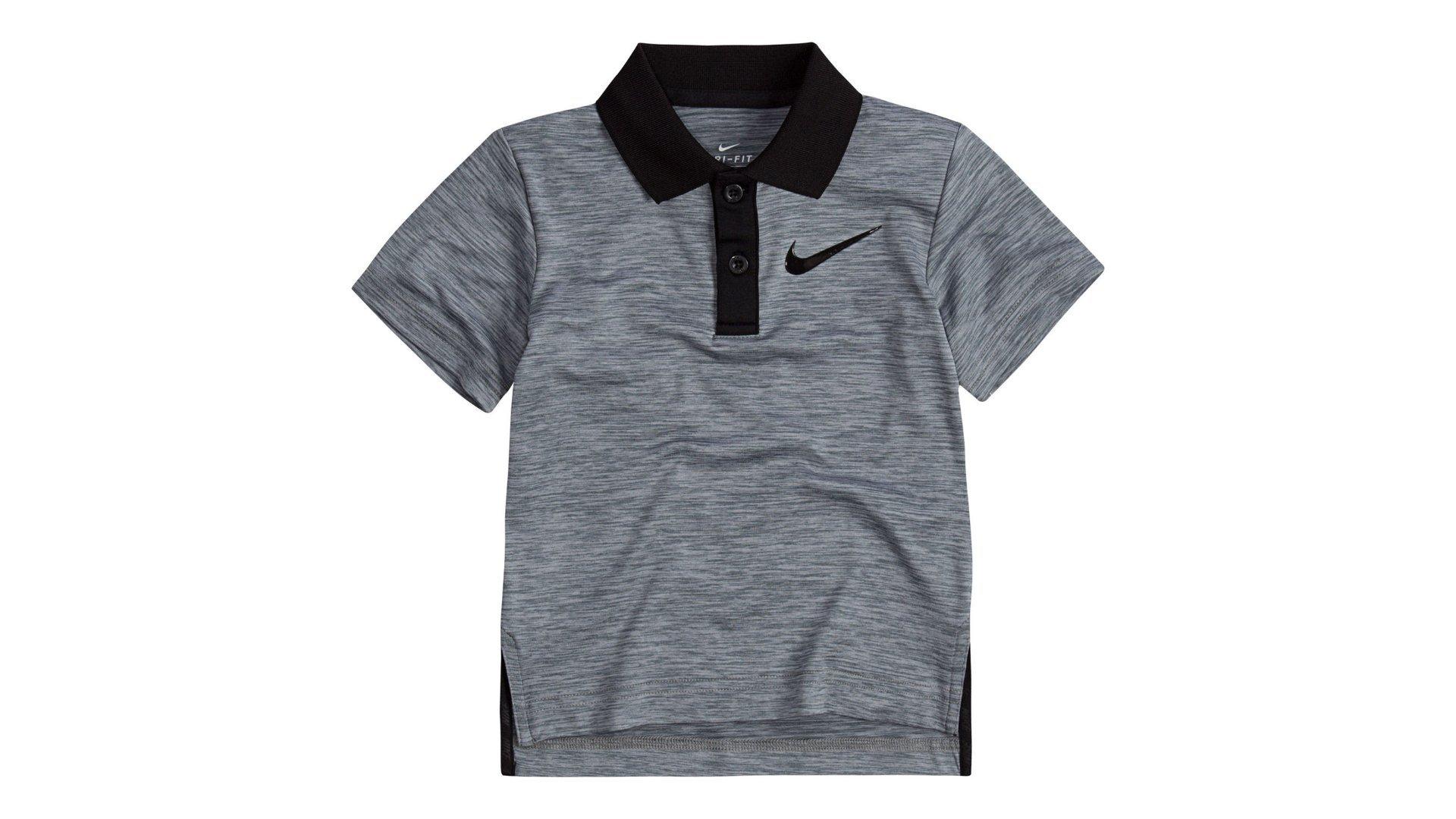 Nike Little Boys' Short Sleeve Polo Shirt (Cool Grey Heather (76C217-G1D) / Black/Black, 2T)