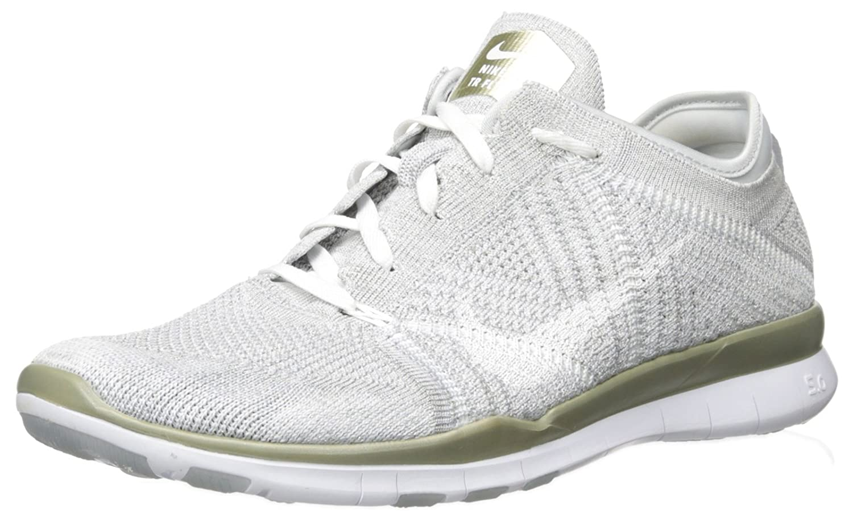 nike womens free TR flyknit metallic running trainers 804534 sneakers shoes B01H0JH5LA 12 B(M) US|Pure Platinum/White-metallic Gold Str