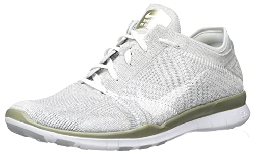 the best attitude 8286c 5f099 Nike Women s WMNS Free Tr Flyknit MTLC Gymnastics Shoes, Silver (Pure  Platinum White