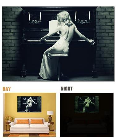 Amazon.com: Lightonight Canvas Wall Art Woman and the Piano Wall ...