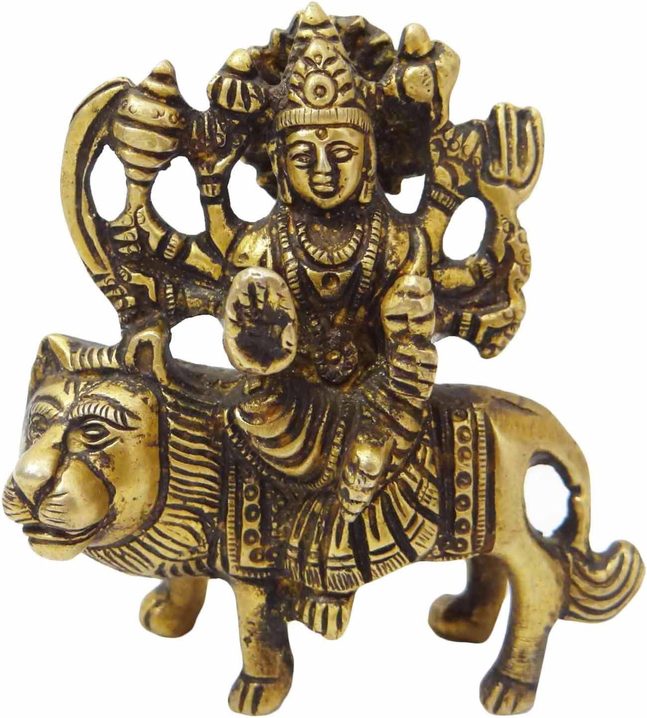 ドゥルガー真鍮彫刻ゴールドen Decorative Figurine Spiritualインテリアアート