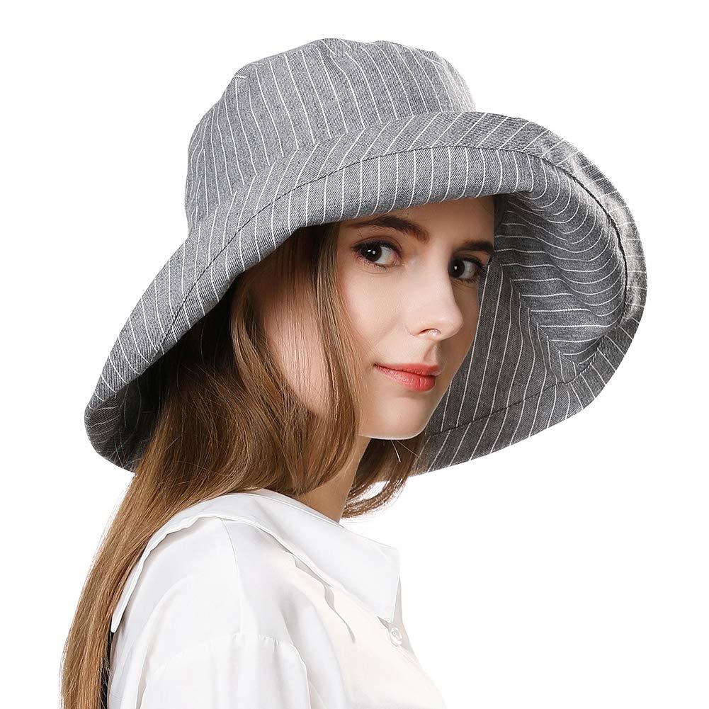 Fancet Foldable Sun Bucket Hat Women Rolled Up Brim Boating Hiking UV Protection Bonnie Gardening Grey