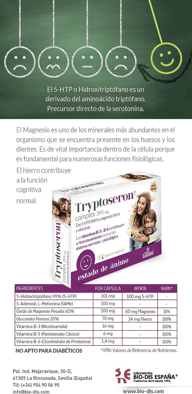 Tryptoseron® 395 mg. 30 capsulas vegetales con triptófano, SAMe ...