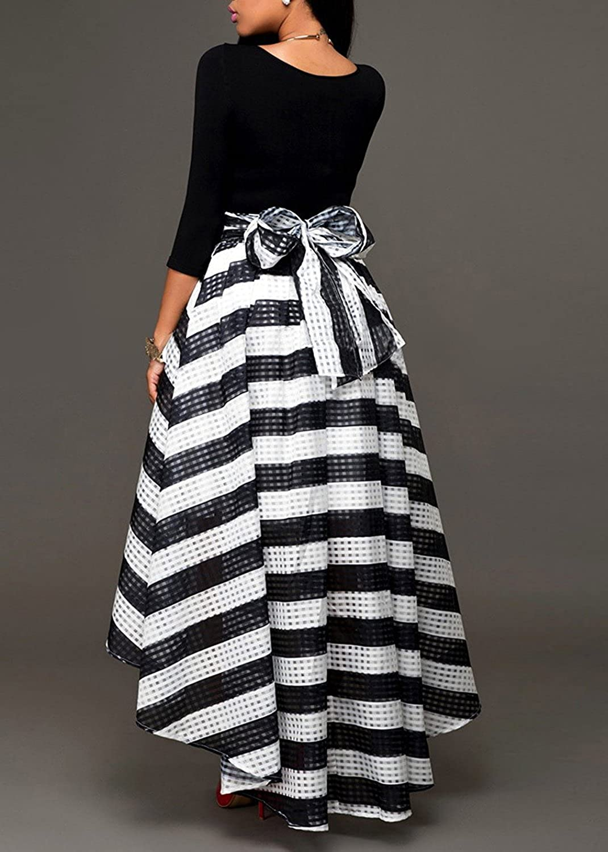 Minetom Damen Reizvolle Elegant Zweiteilig Kleid 3/4-Arm Rundkragen Tops + Schwarz  Weiss Gestreift Röcke für Partei Cocktail: Amazon.de: Bekleidung