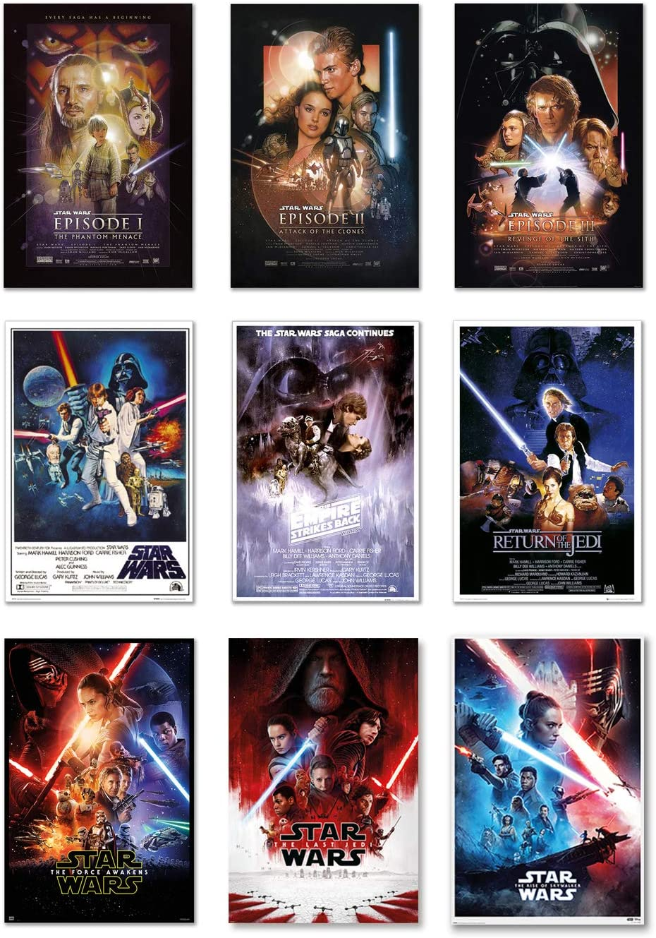 Star Wars: Episode I, II, III, IV, V, VI, VII, VIII & IX - Movie Poster Set (9 Individual Full Size Movie Posters - Regulars Version 4) (Size: 24 x 36 inches Each)