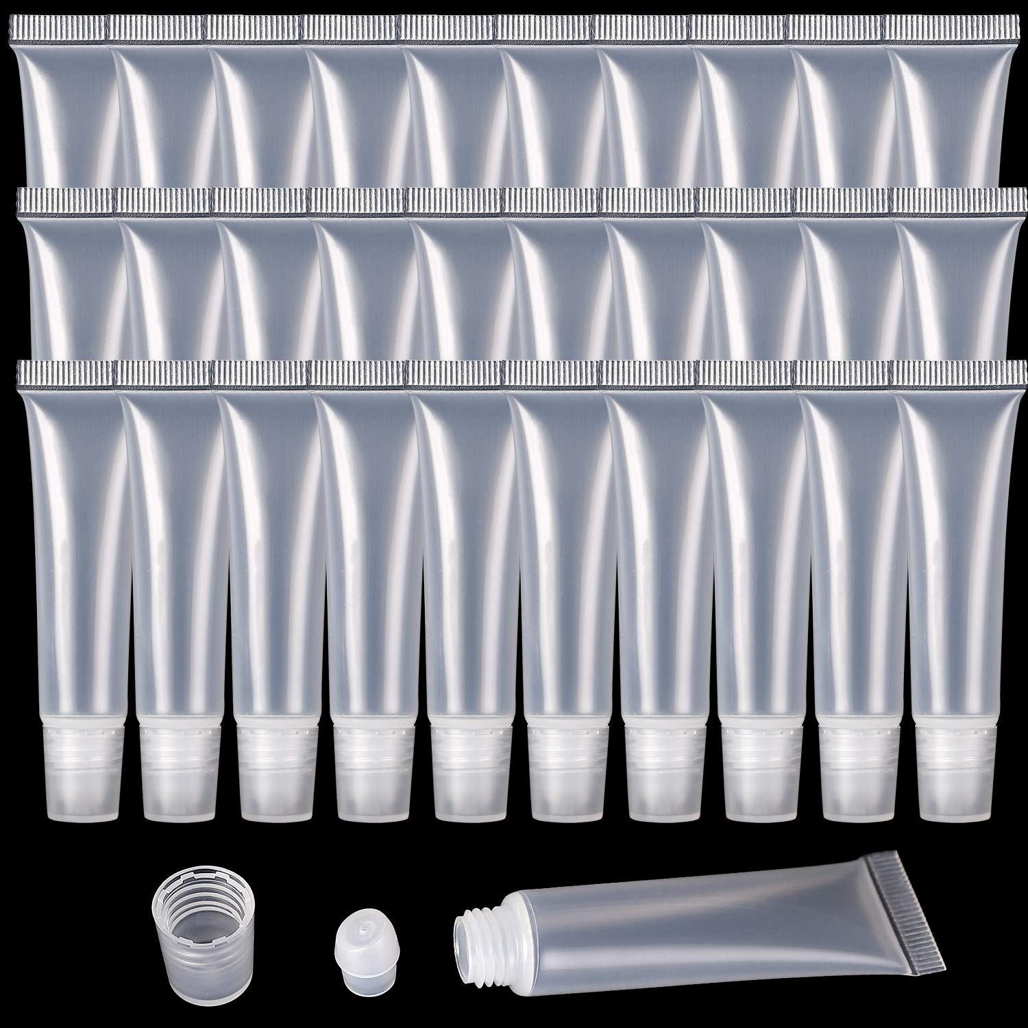 100 Pcs 10 ml Lip Gloss Balm Tubes Refillable Empty Tubes Clear Cosmetic Containers Soft Tube. (10ML)