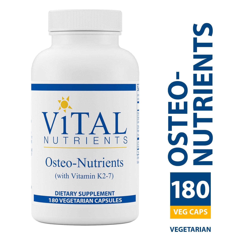 Vital Nutrients - Osteo-Nutrients (with Vitamin K2-7) - Bone Support Formula - 180 Vegetarian Capsules per Bottle by Vital Nutrients