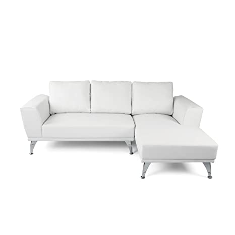 Marvelous Amazon Com Ava Modern Faux Leather Chaise Sectional White Machost Co Dining Chair Design Ideas Machostcouk
