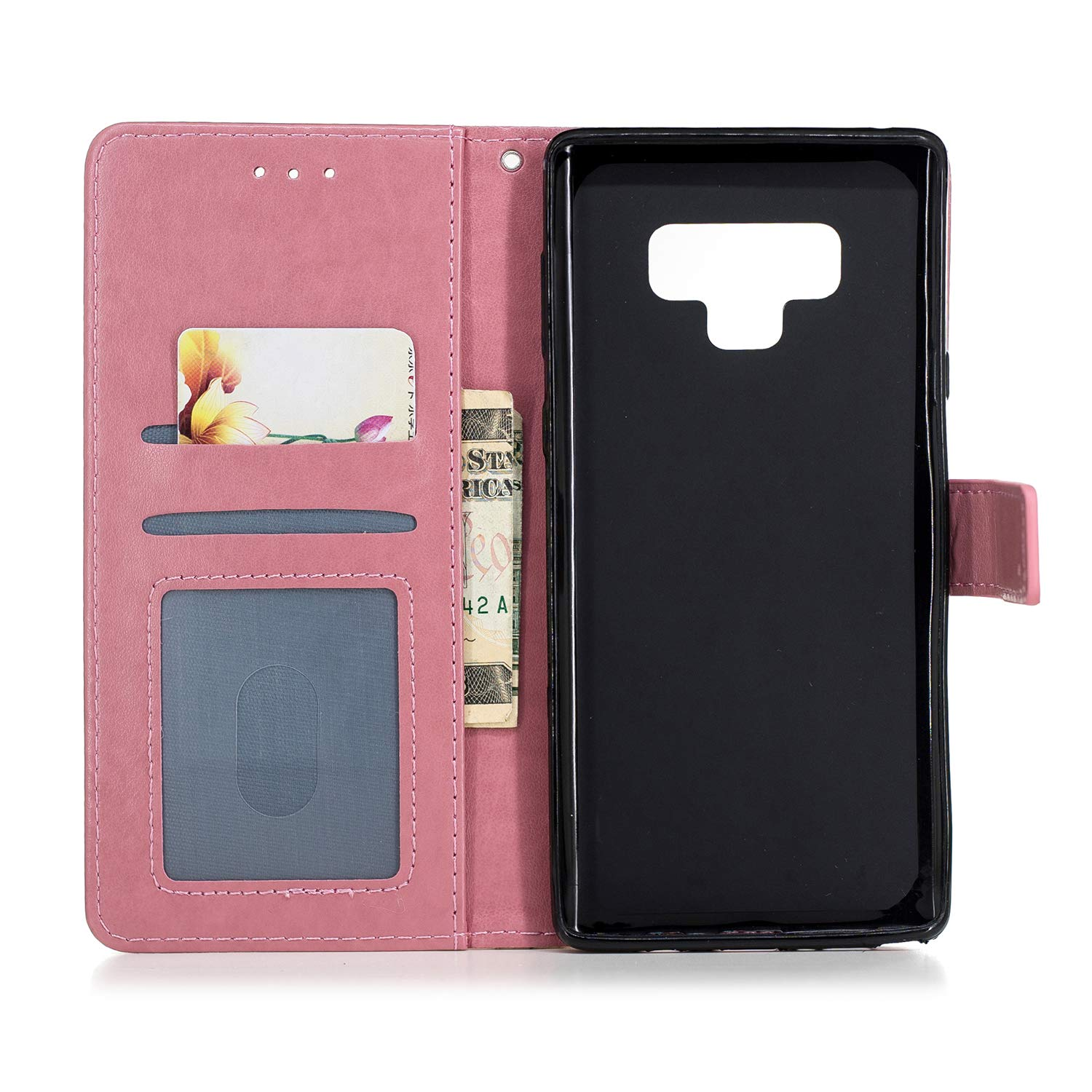 Samsung Galaxy Note 9 Case, AIIYG DS 3D Pattern [Kickstand Feature] Flip Folio Leather Wallet Case with ID and Credit Card Pockets for Galaxy Note 9 (Pink Pineapple) by AIIYG DS (Image #6)