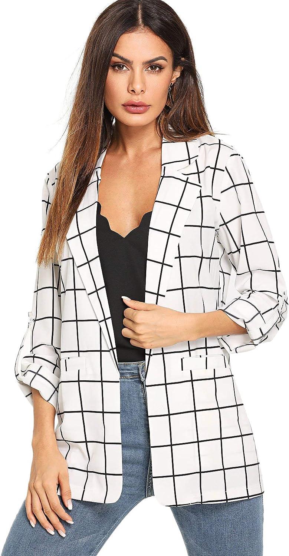 Milumia Women's Casual Open Front Blazer Lightweight Plaid Roll Up Sleeve Jacket Shirt