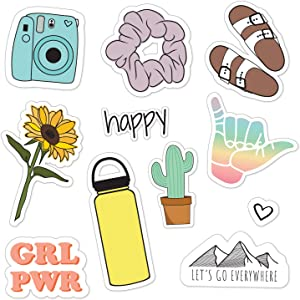 Canopy Street Let's Go Everywhere Cute VSCO Girl Stickers for Water Bottles, laptops & Cell Phones / 11 Waterproof Stickers