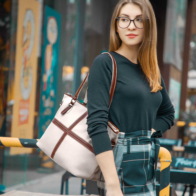 LOVEVOOK Bolsos Mujer Elegante Bolso Bandolera Mujer de Piel Sint/ético con la Cruz de Color Abstracto Blanco