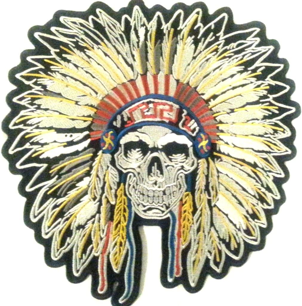 b2see Bügel Iron on Indianer Skull Patch Aufnäher Applikation Patches Sticker Ei groß Jeans Jacke n Indianer Skull Totenkopf 24 x24 cm
